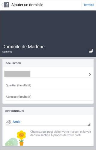 Confidentialité d'une adresse sur Facebook