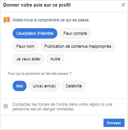 Signalement d'une usurpation d'identité sur Facebook
