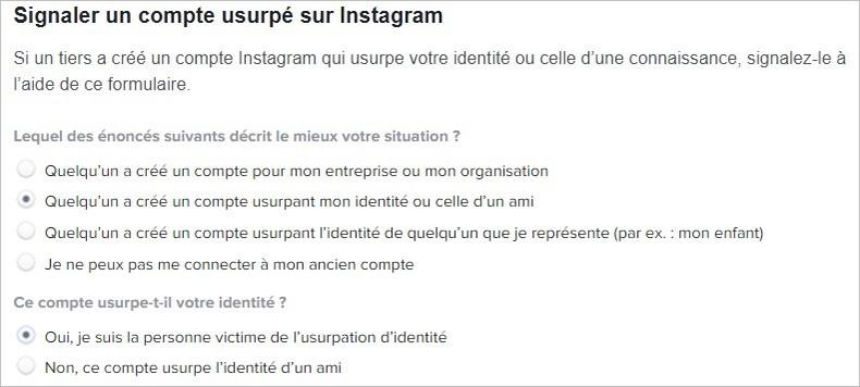 Usurpation d'identité sur Instagram