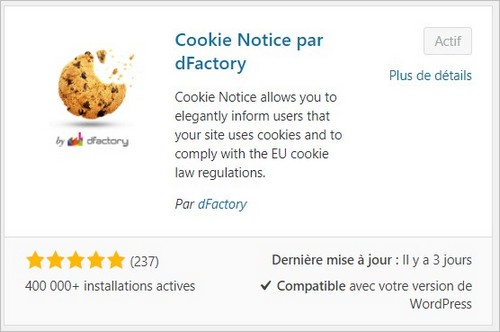 Le plugin WordPress Cookie Notice