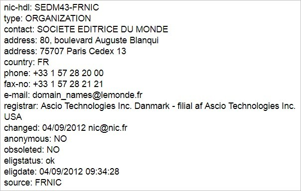 Le WhoIs du journal Le Monde