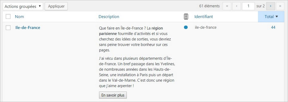 Exemple d'étiquette WordPress