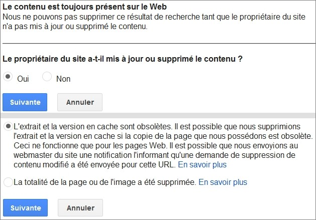 Suppression du cache Google