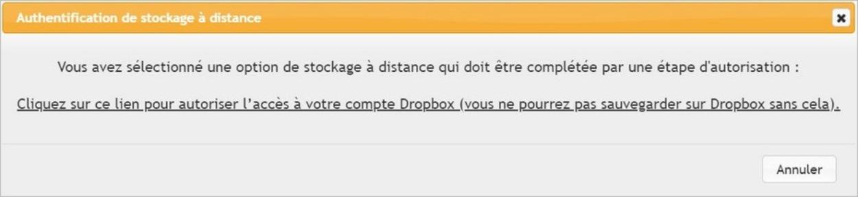 UpdraftPlus Backup: autenticación de su cuenta de Dropbox