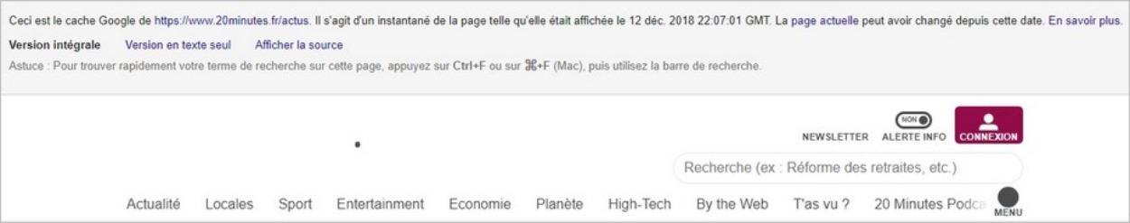 Mise en cache d'une page par Google