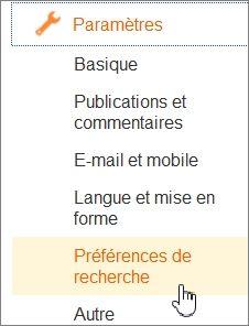 Préférences de recherche sur Blogger