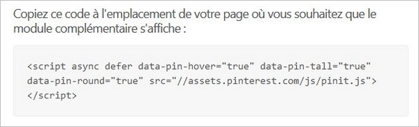 Code du bouton Pinterest