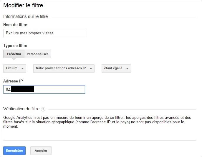 Créer un filtre basé sur l'adresse IP