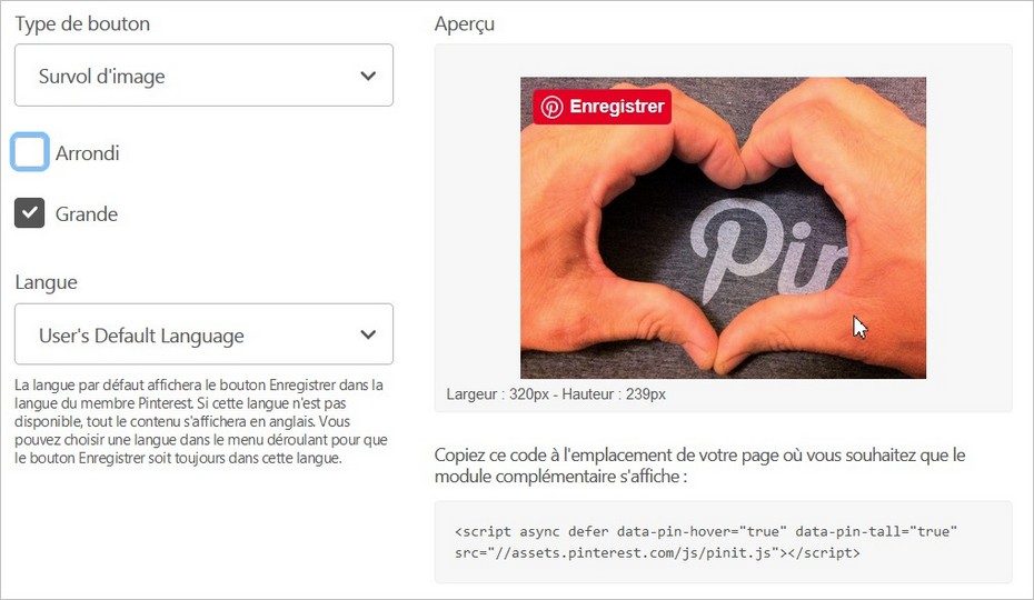 Installer le bouton Enregistrer sur Pinterest