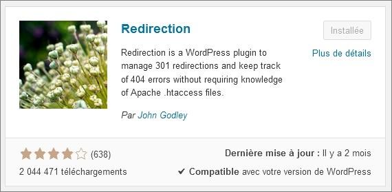 Le plugin Redirection pour WordPress