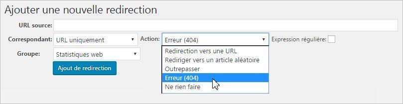 Signaler les erreurs 404 avec Redirection