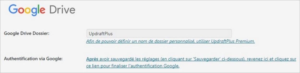 Sauvegarde Google Drive