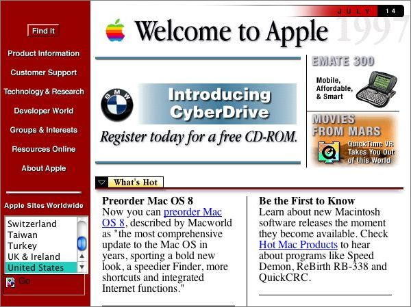 Le site officiel d'Apple en 1997