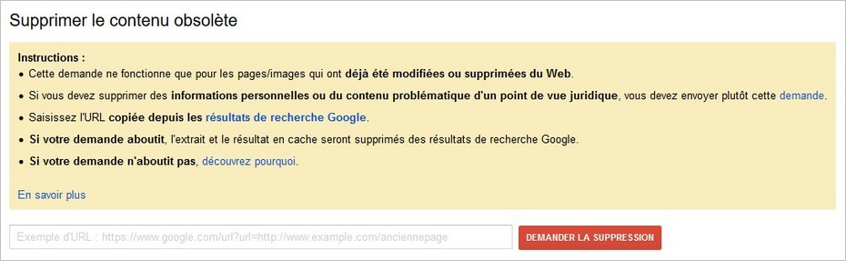 Demande de suppression d'un résultat Google