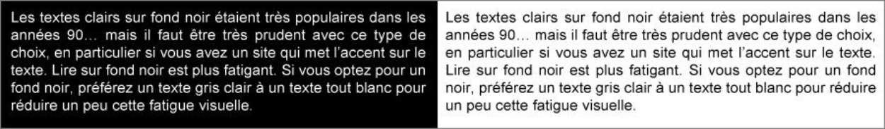 Texte blanc sur fond noir et texte noir sur fond blanc
