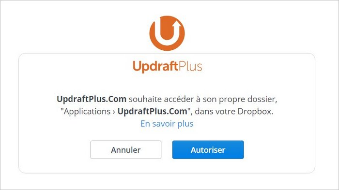 Autoriser UpdraftPlus sur Dropbox