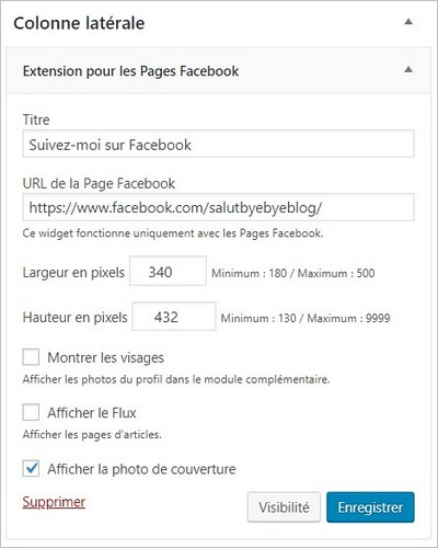 Widget Facebook sur WordPress.com