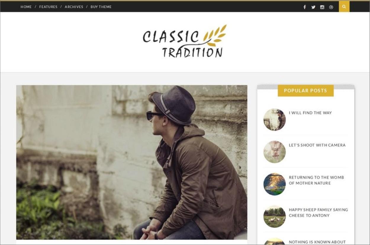 Modèle responsive gratuit - Thème Classic Tradition pour Blogger