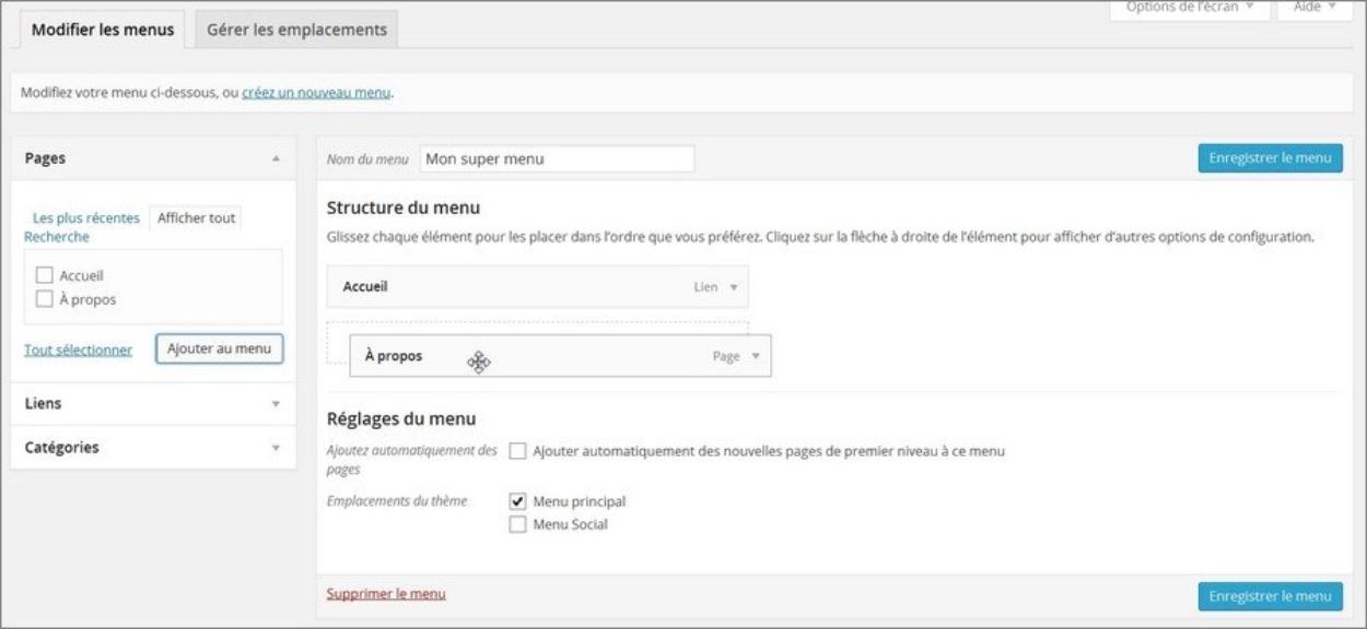 Créer des menus sur WordPress