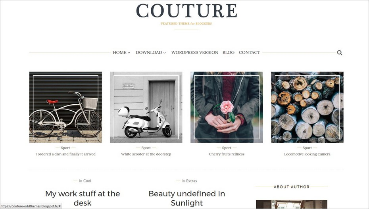 Le thème Couture pour Blogger