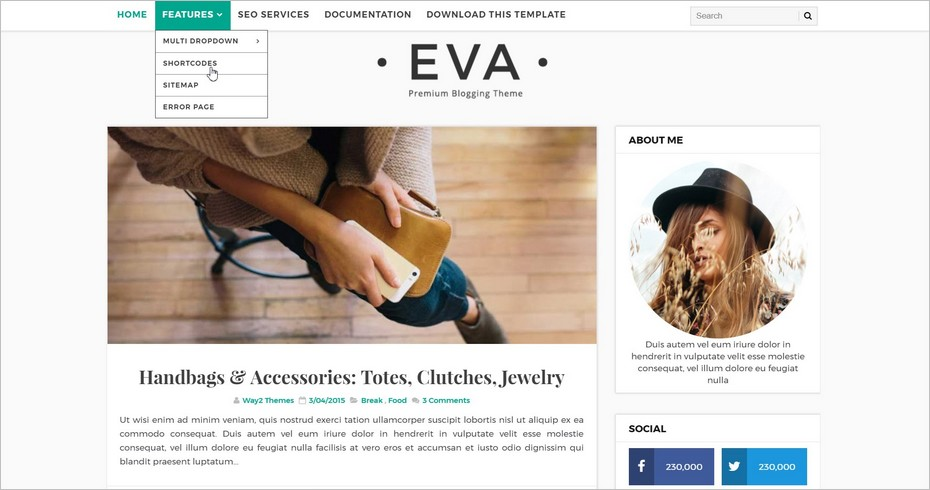 Eva Simple, un template Blogger sobre