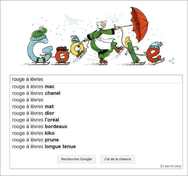 Google Suggest sur la requête Rouge à lèvres
