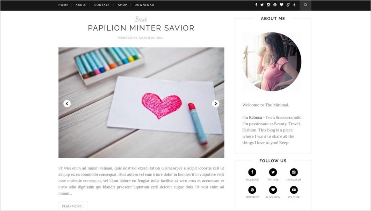 Le thème Minimal Clean pour Blogger
