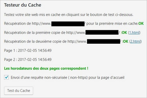 WP Super Cache : test réussi