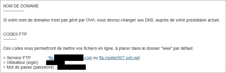 Codes FTP chez OVH