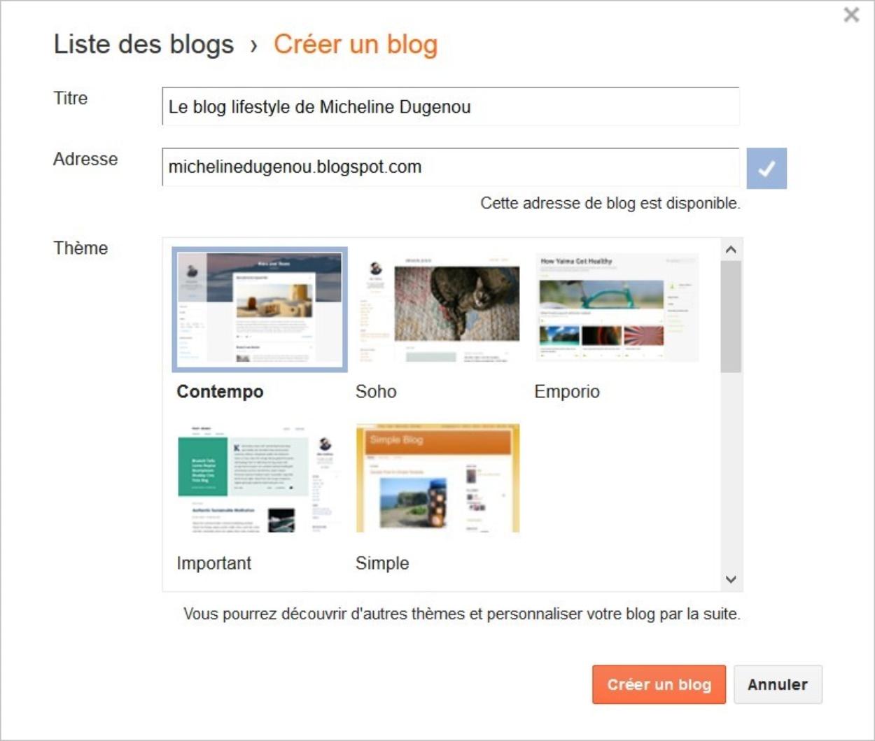 Création d'un blog gratuit avec Blogger