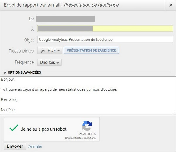 Envoyer un rapport Google Analytics par e-mail