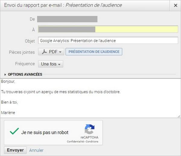 Envoyer un rapport Google Analytics par e-mail