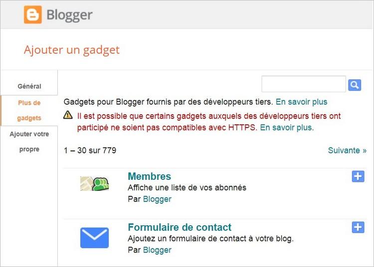 Gadgets sur Blogger
