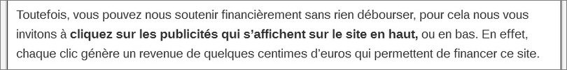 Exemple d'incitation au clic sur Adsense