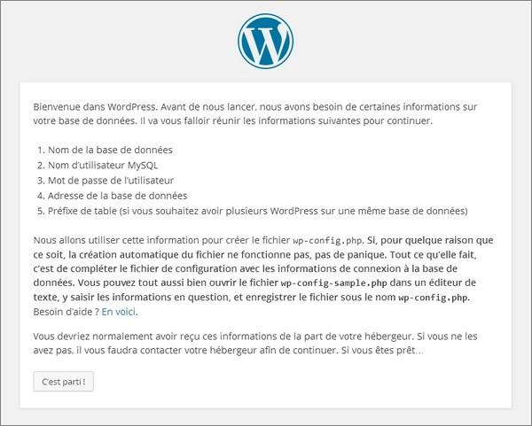 Installer WordPress chez un hébergeur - étape 1