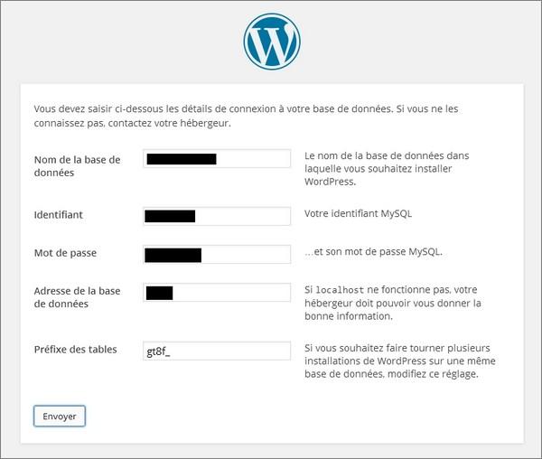 Installer WordPress chez un hébergeur - étape 2