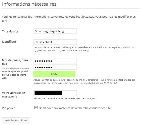 Installer WordPress chez un hébergeur - étape 4
