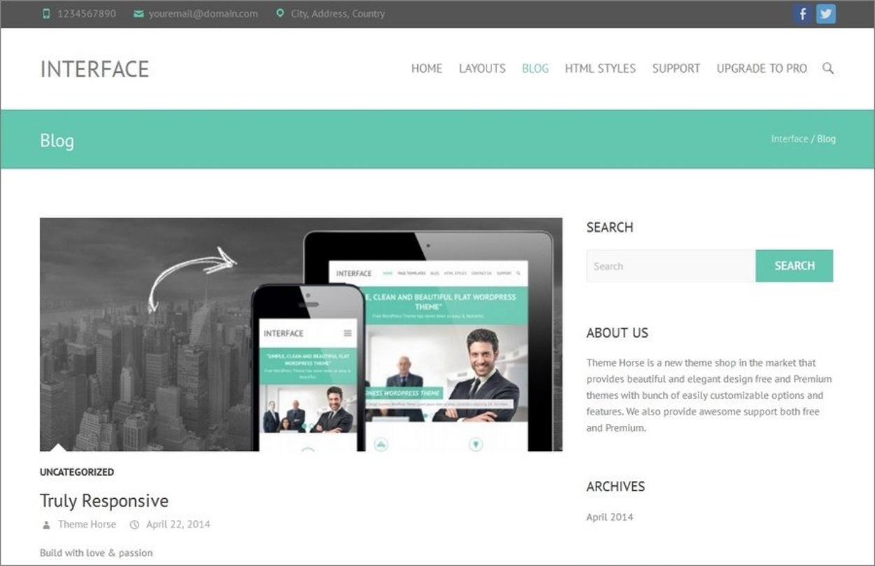 Thème responsive gratuit pour WordPress - Interface