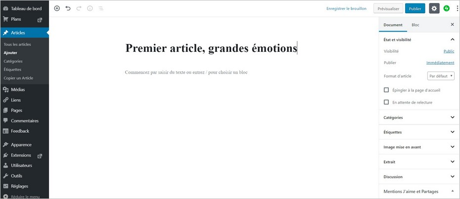L'interface de rédaction sur WordPress.com