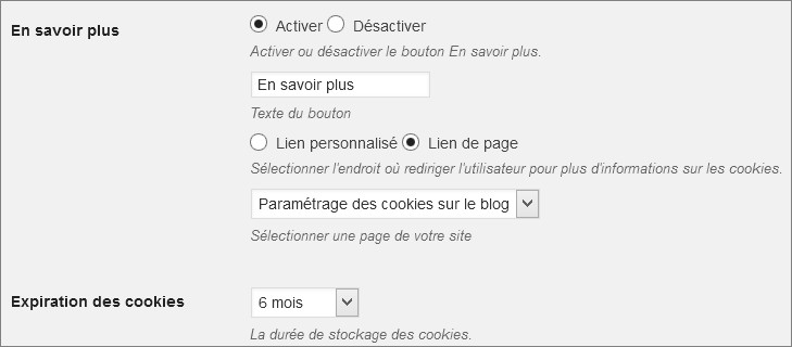 Options de Cookie Notice