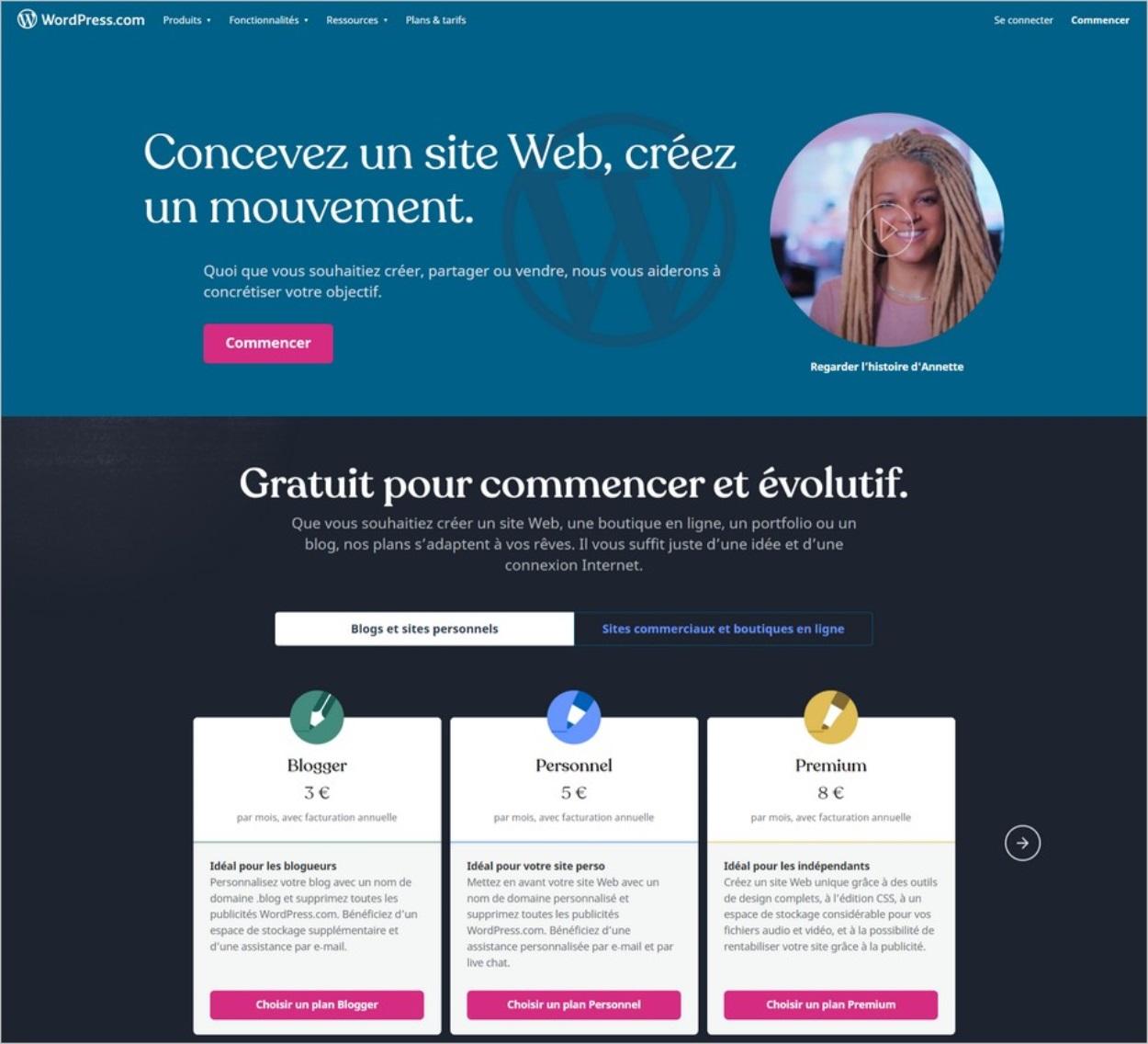 Créer un blog WordPress.com