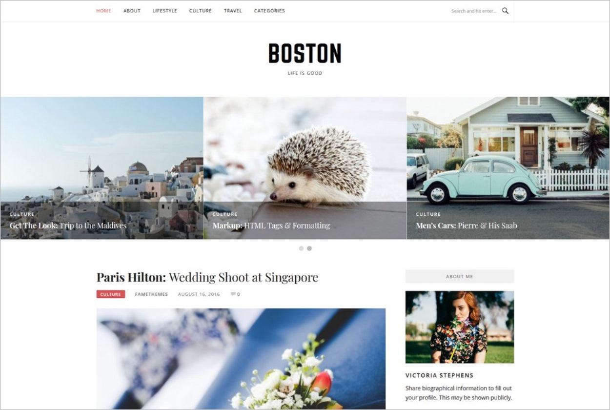 Boston, un thème WordPress gratuit