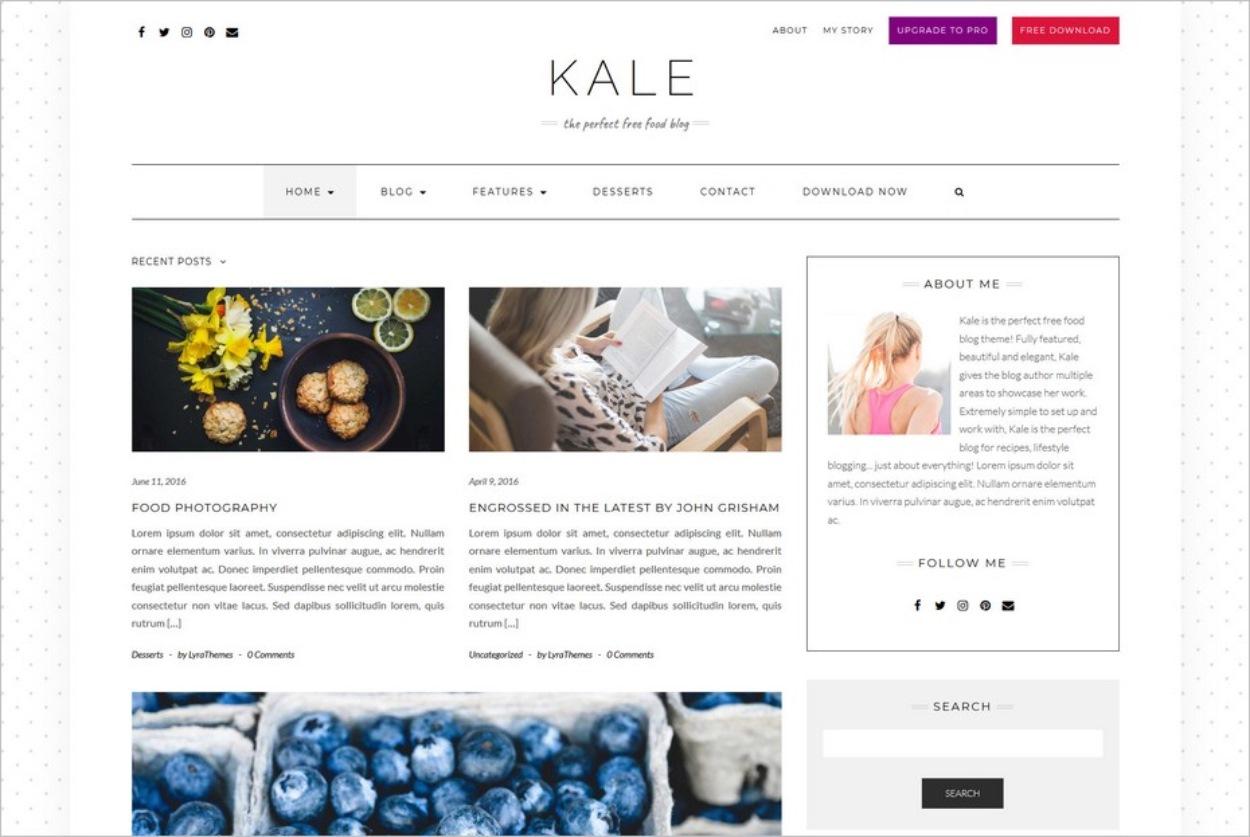 Le thème gratuit Kale pour WordPress