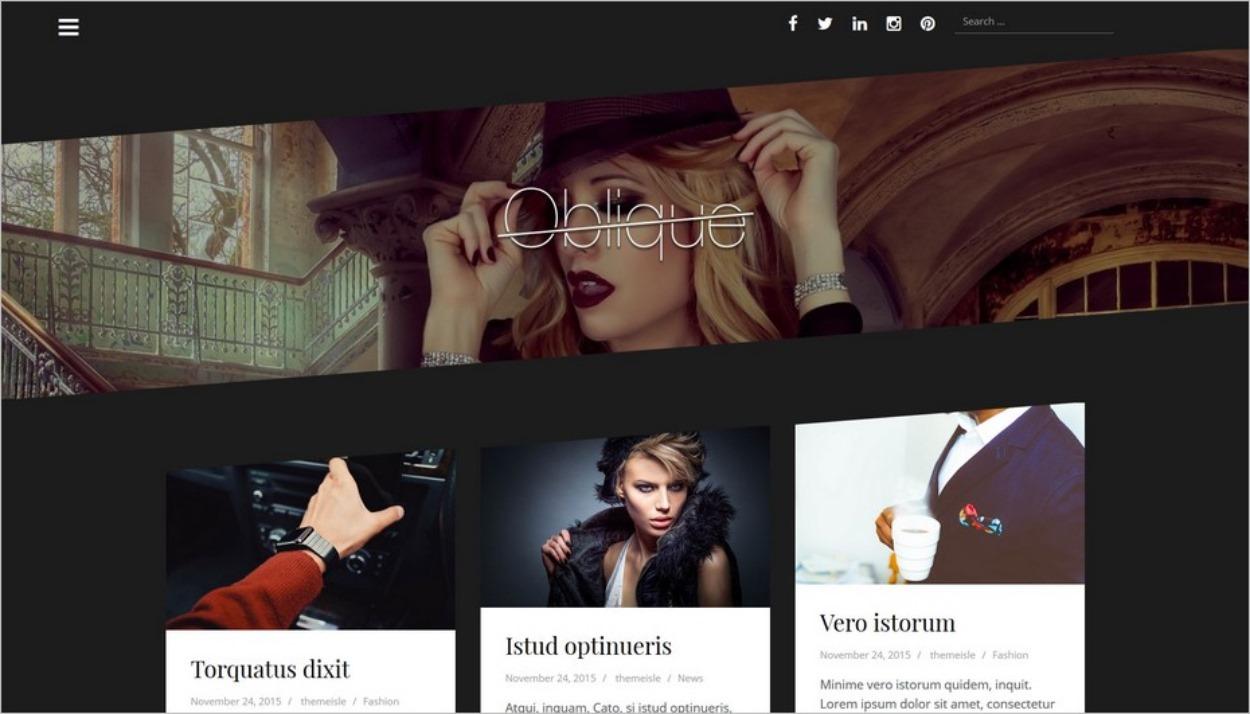 Oblique, un thème WordPress sombre et chic