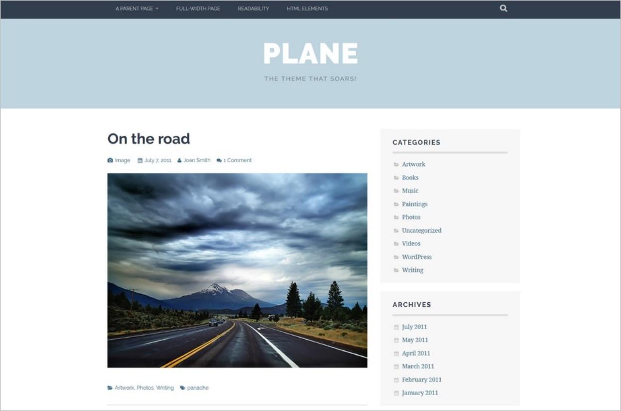 Le thème WordPress Plane