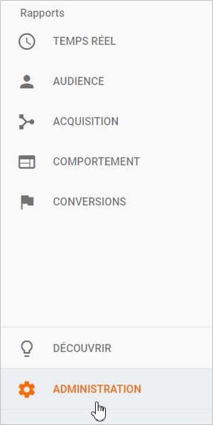 Administration de Google Analytics