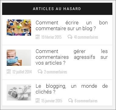 Articles au hasard sur WordPress