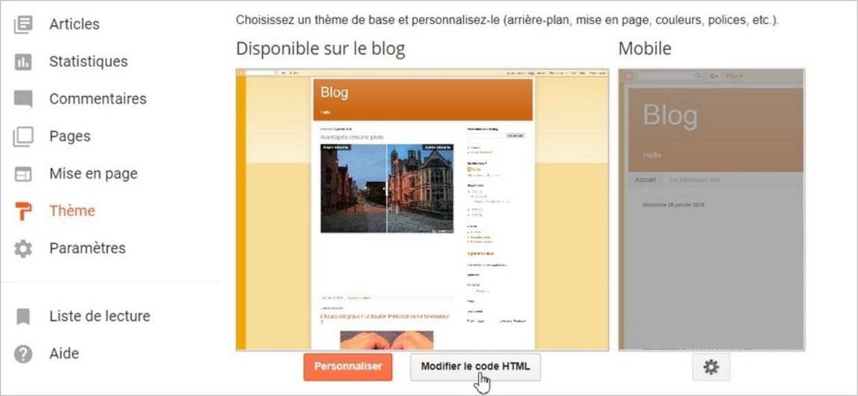 Modifier le code HTML sur Blogger