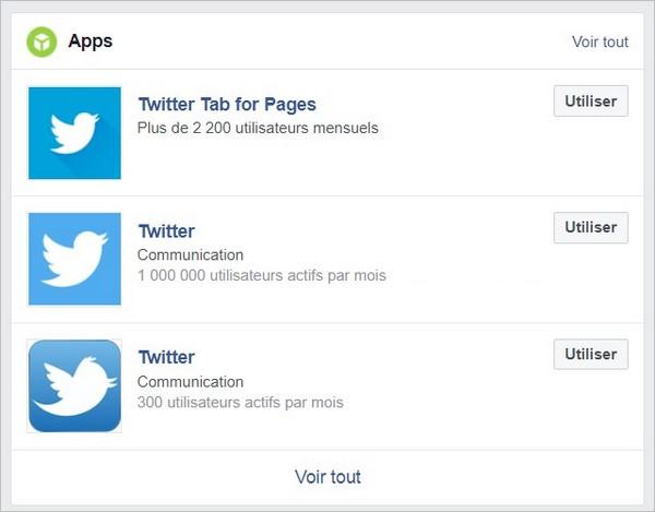 Ajouter l'application Twitter sur Facebook