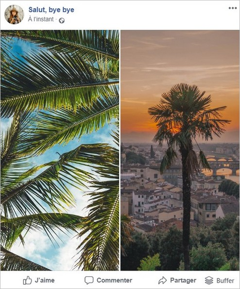 Affichage de deux photos de taille différente sur Facebook